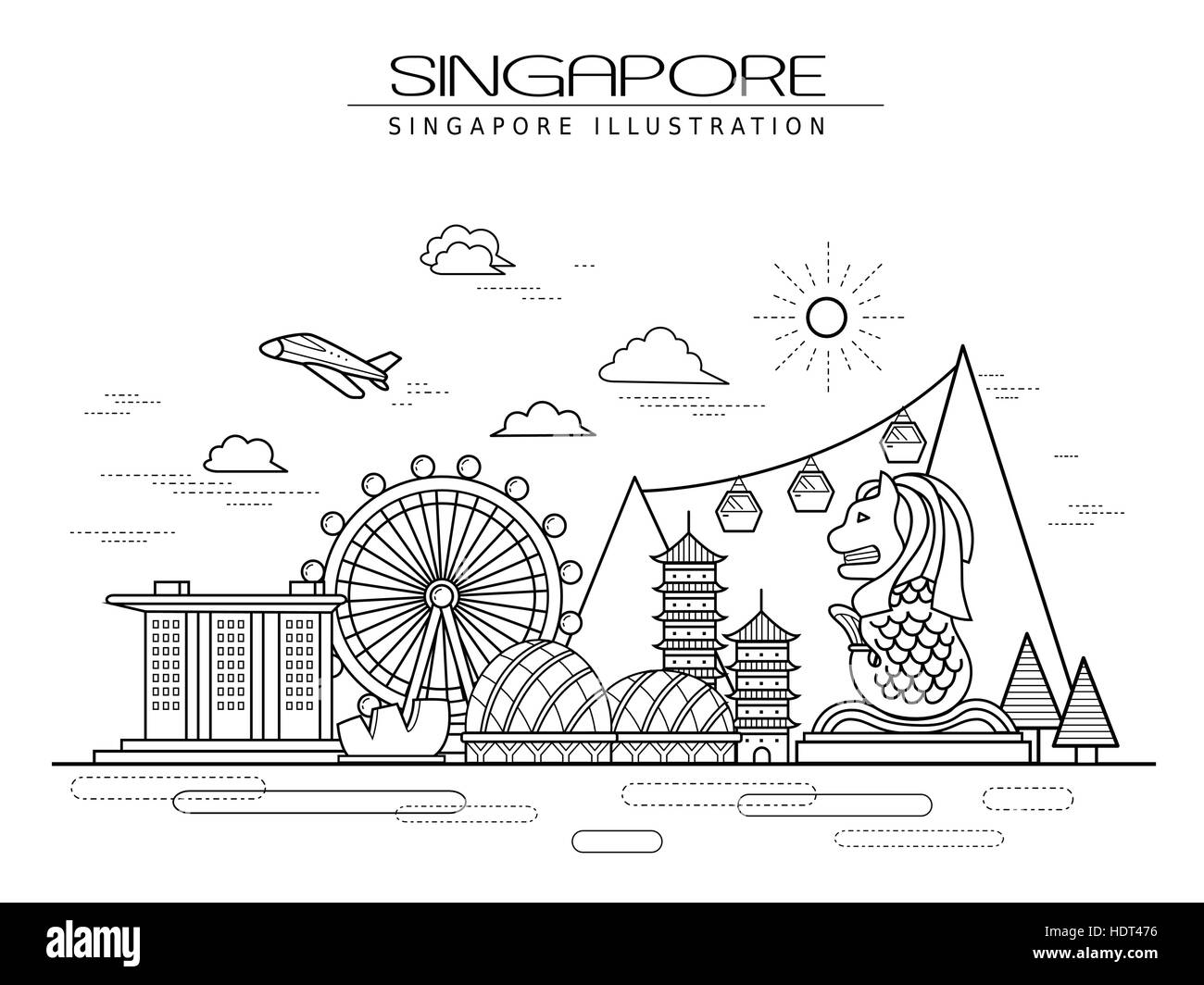 Poster design drawing - Stock Vector Simplicity Singapore Scenery Poster Design In Line Style