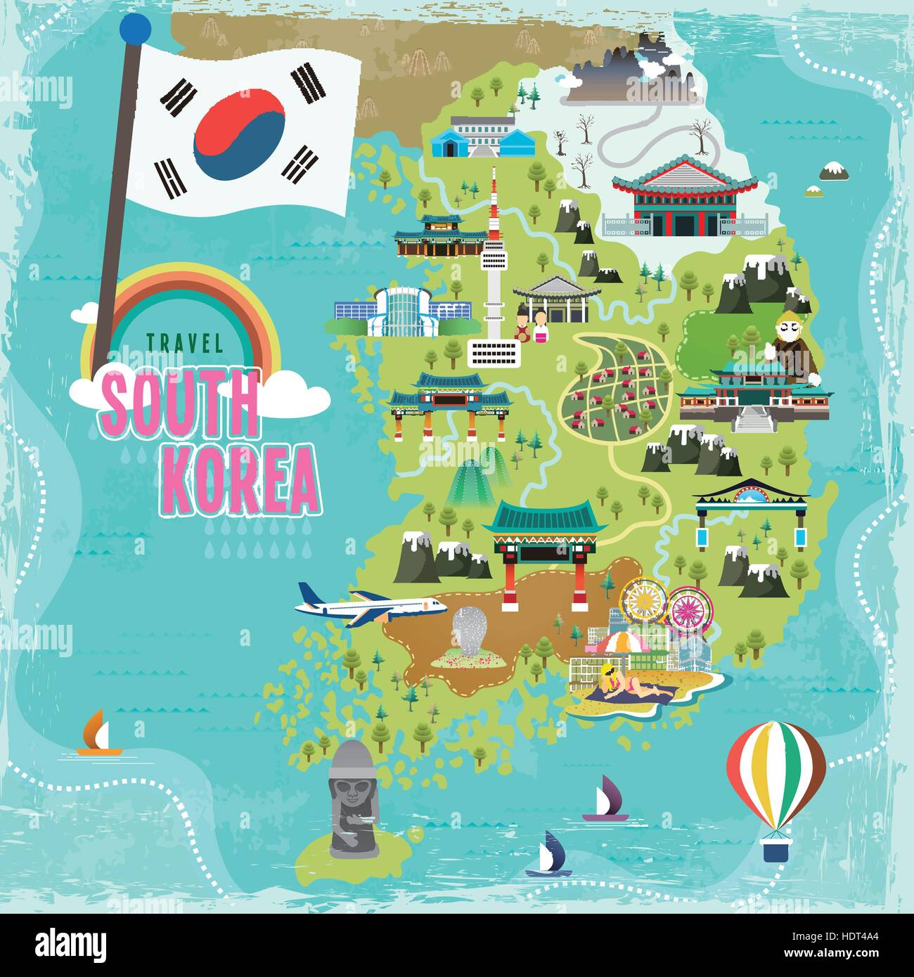 Lovely South Korea Travel Map In Flat Style Stock Vector Art - Map of south korea