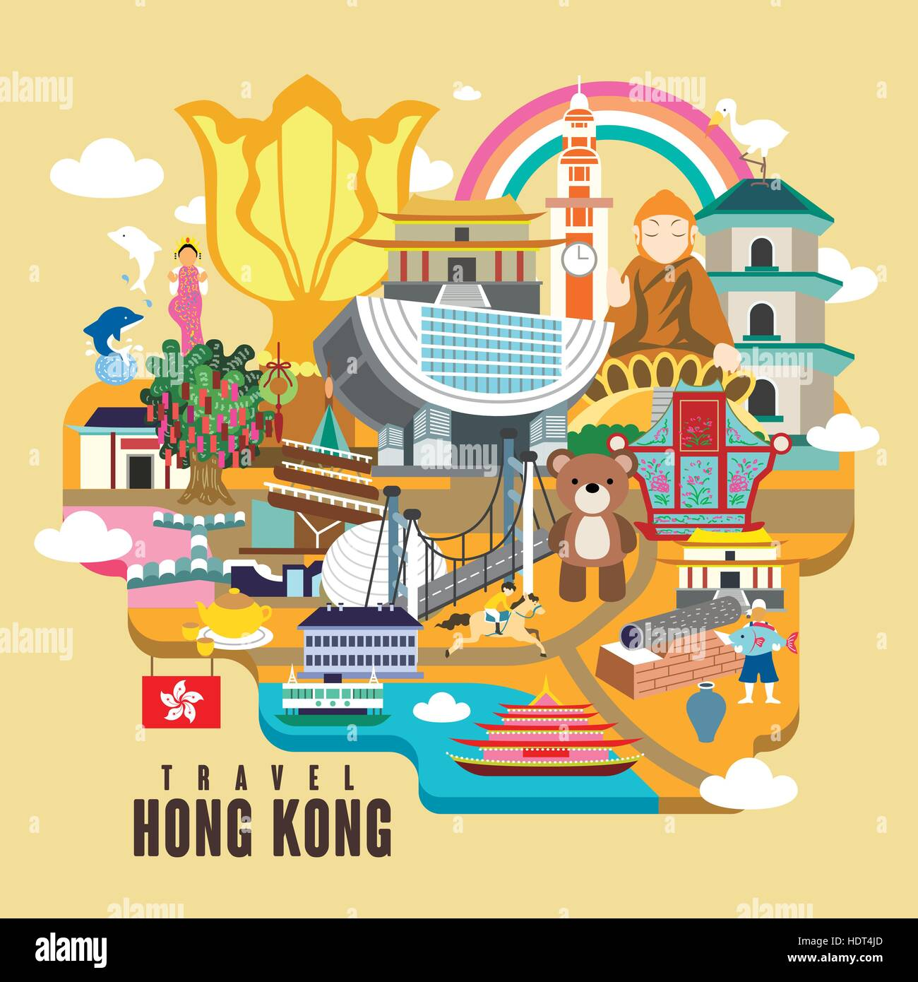 Poster design hong kong - Hong Kong Travel Poster Design With Attractions In Flat Style