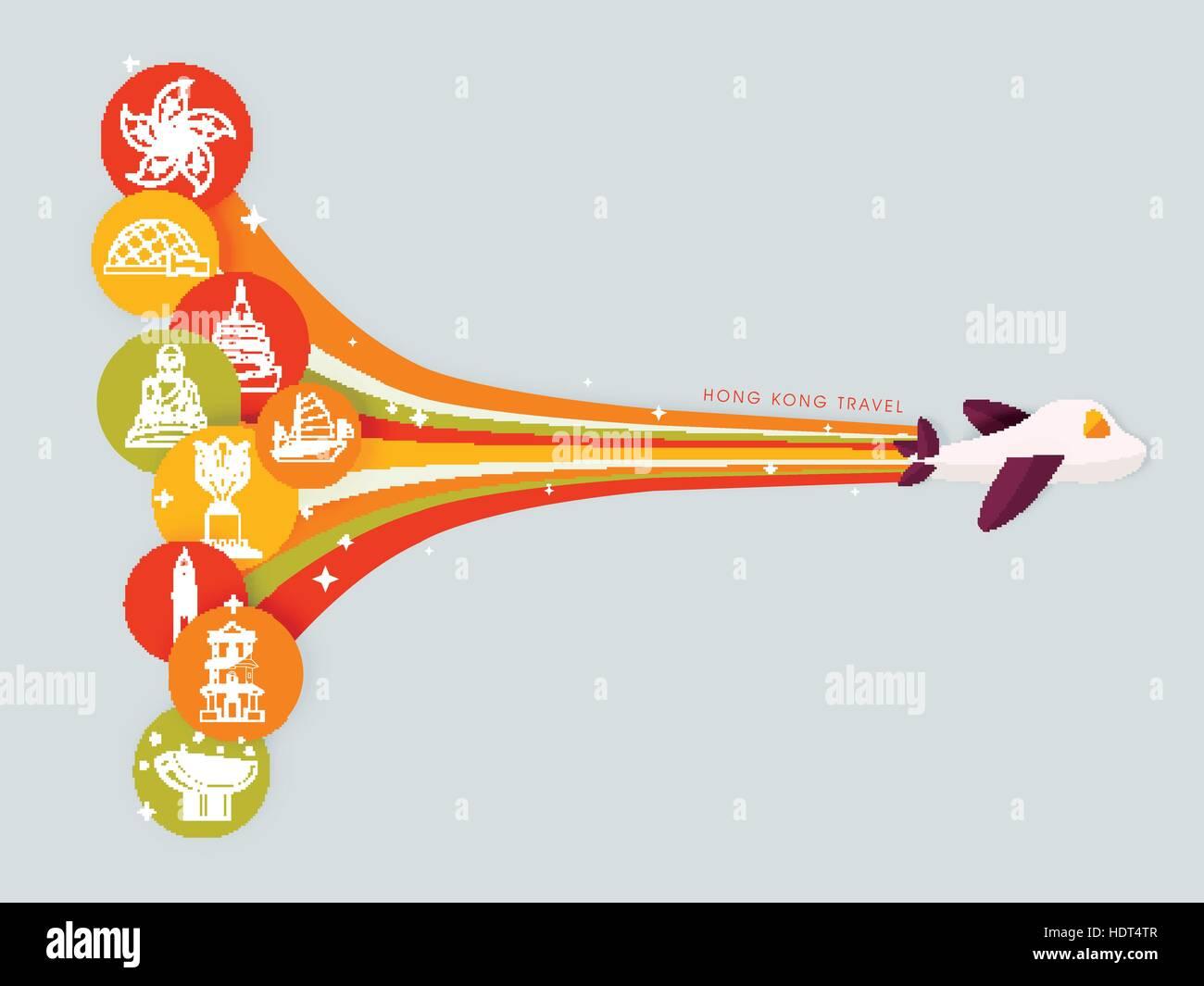 Poster design hong kong - Stock Vector Attractive Hong Kong Travel Poster Design In Flat Design