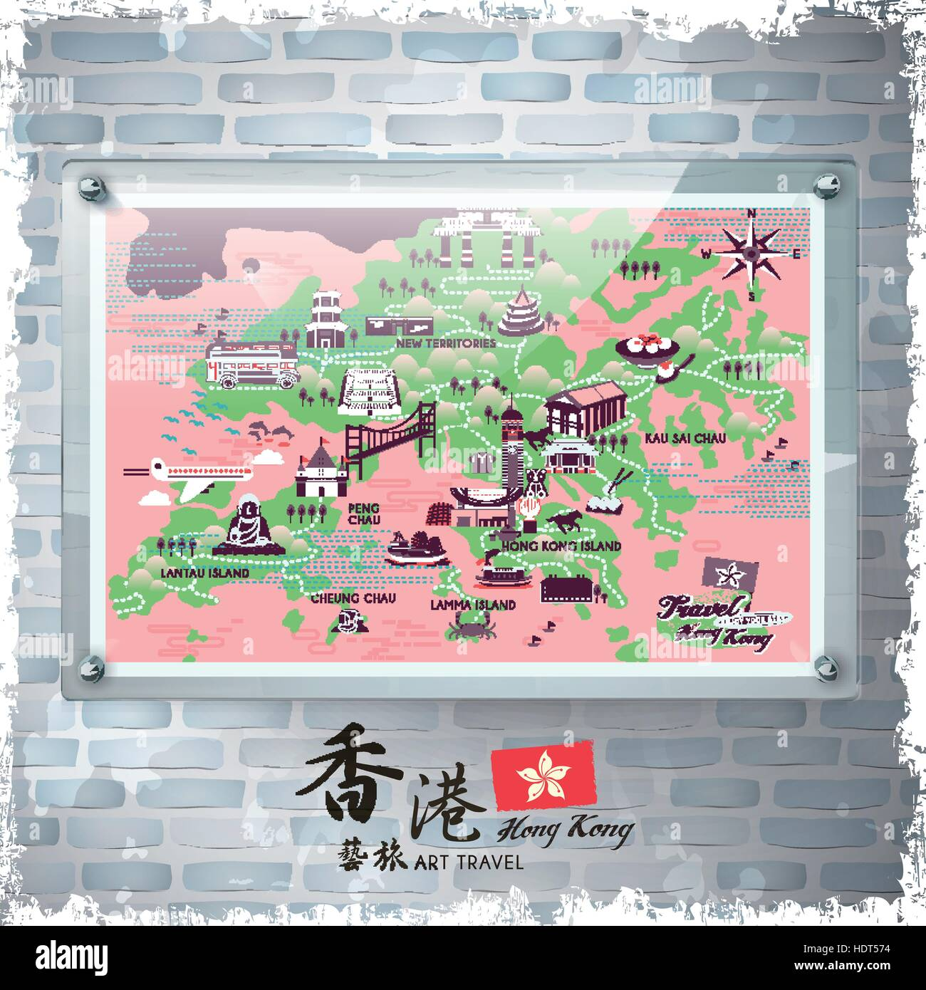 A board poster design - Stock Vector Attractive Hong Kong Travel Poster Design On Advertising Board Hong Kong Art Travel In Chinese Word
