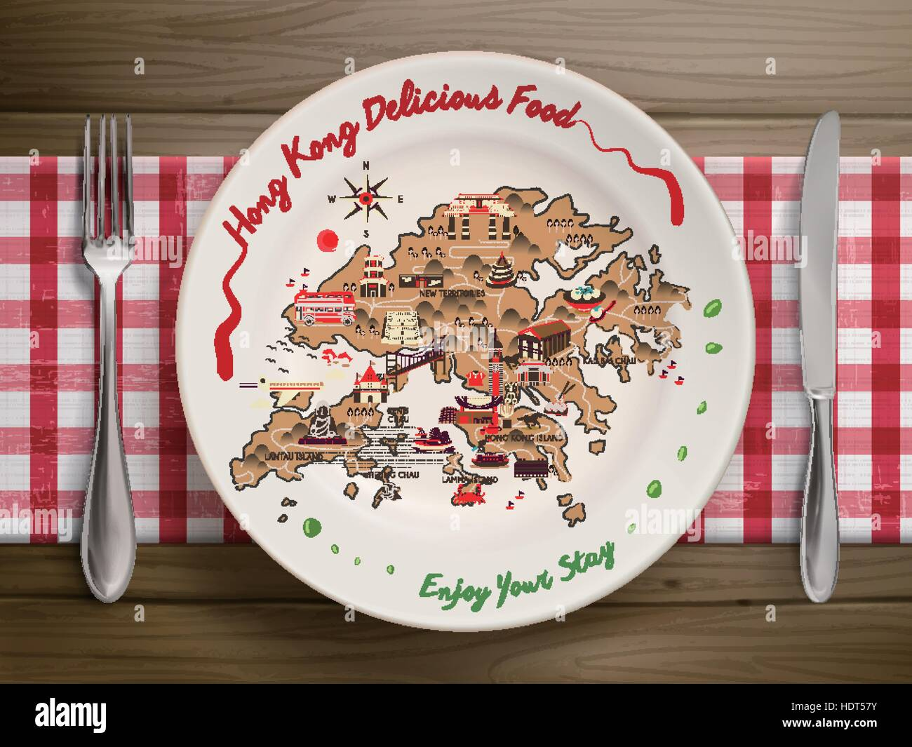 Poster design hong kong - Stock Vector Creative Hong Kong Travel Poster Design On Plate