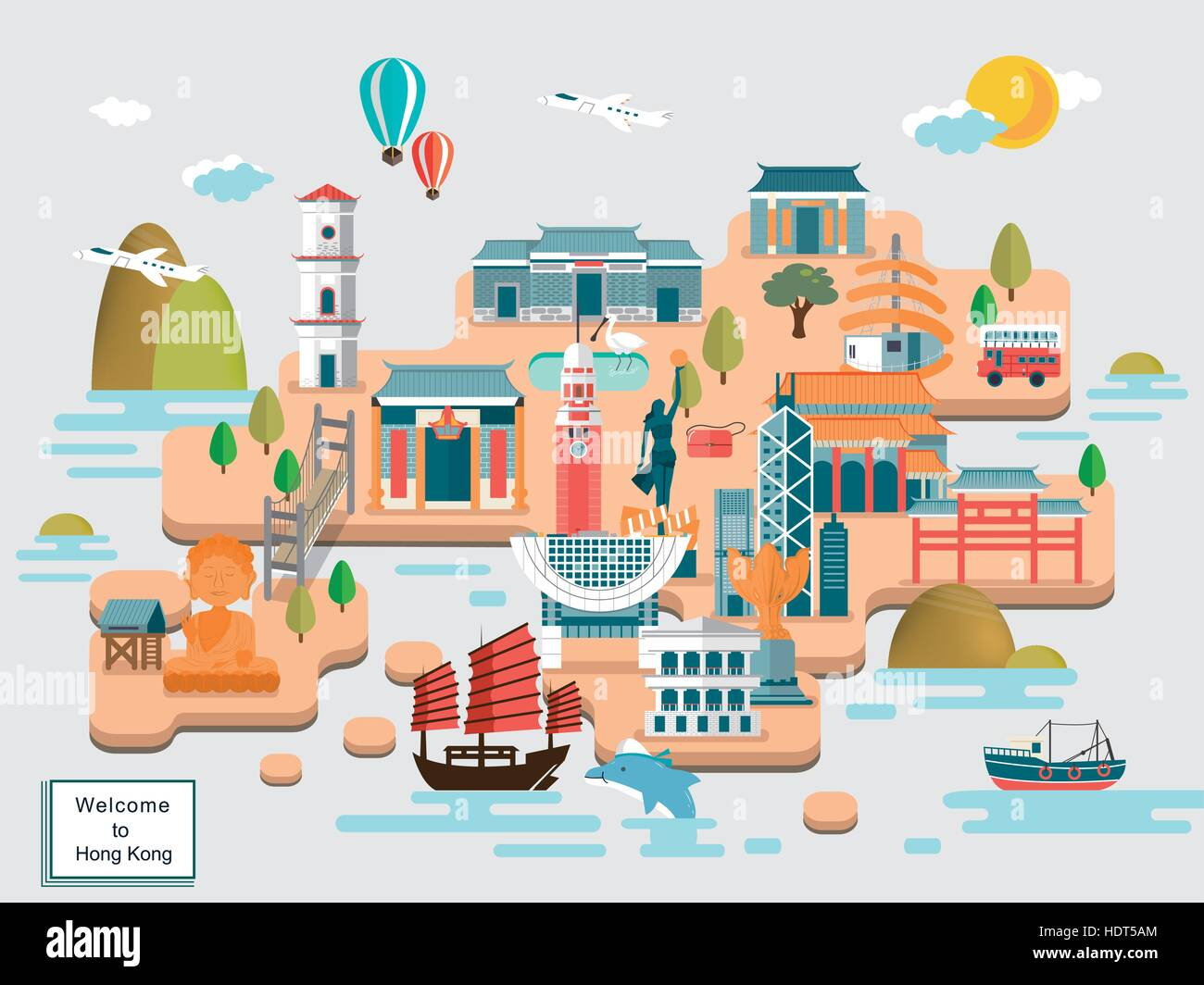 lovely Hong Kong travel map design in flat design Stock Vector Art