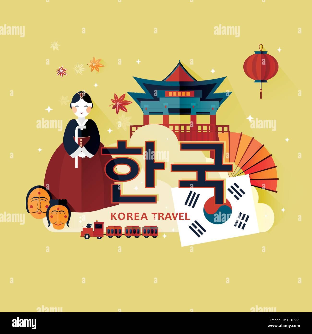 Traditional Korean Culture Symbol In Travel Poster Korea In Korean Stock Vector Art
