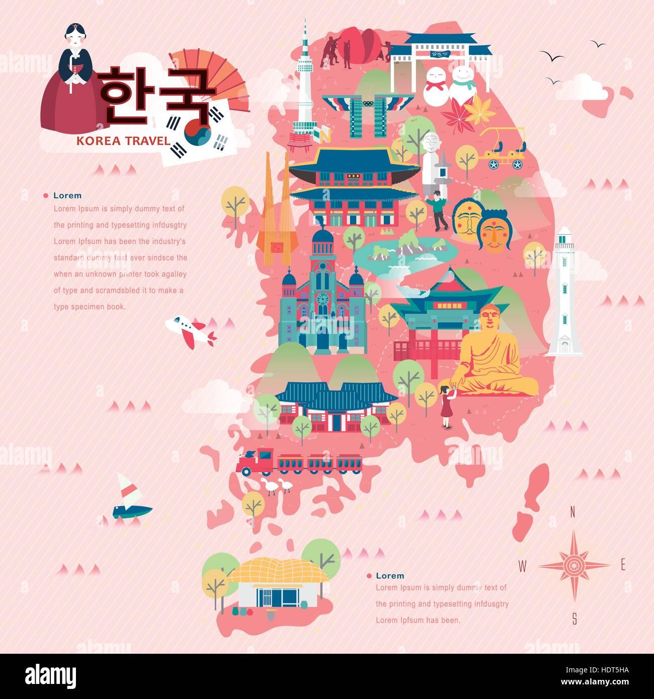 Korean poster design - Adorable South Korea Travel Map In Flat Style Korea In Korean Words On Upper Left