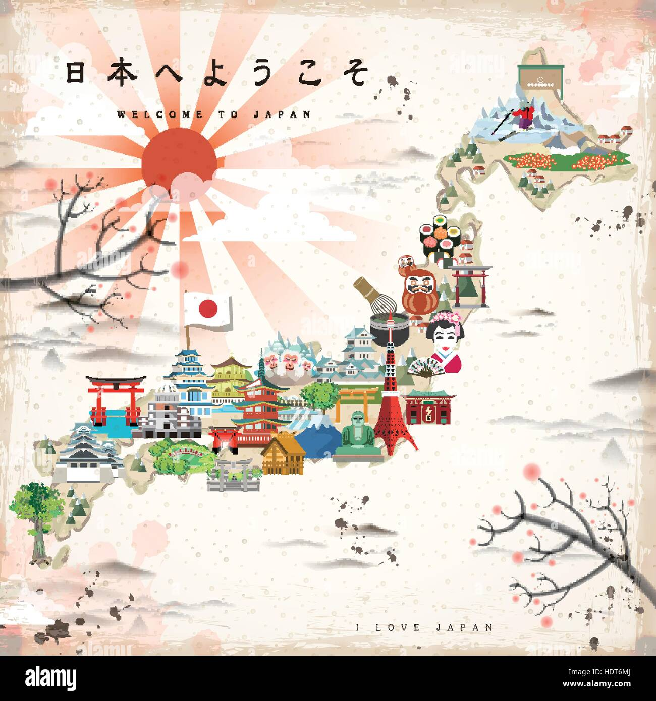 Beautiful Japan Travel Map Welcome To Japan In Japanese On Upper - Japan map hd