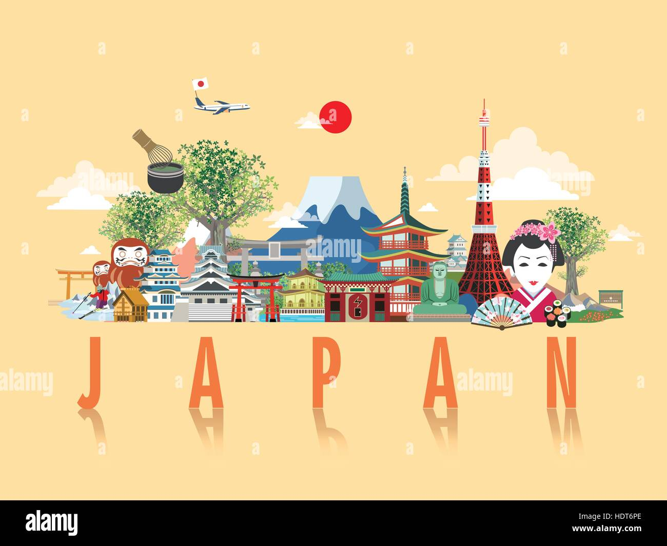 Poster design japan - Stock Vector Wonderful Japan Travel Poster Design In Flat Style