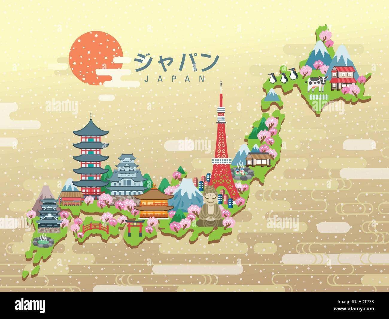 Lovely Japan Travel Map Japan In Japanese Words On The Middle - Japan map cartoon