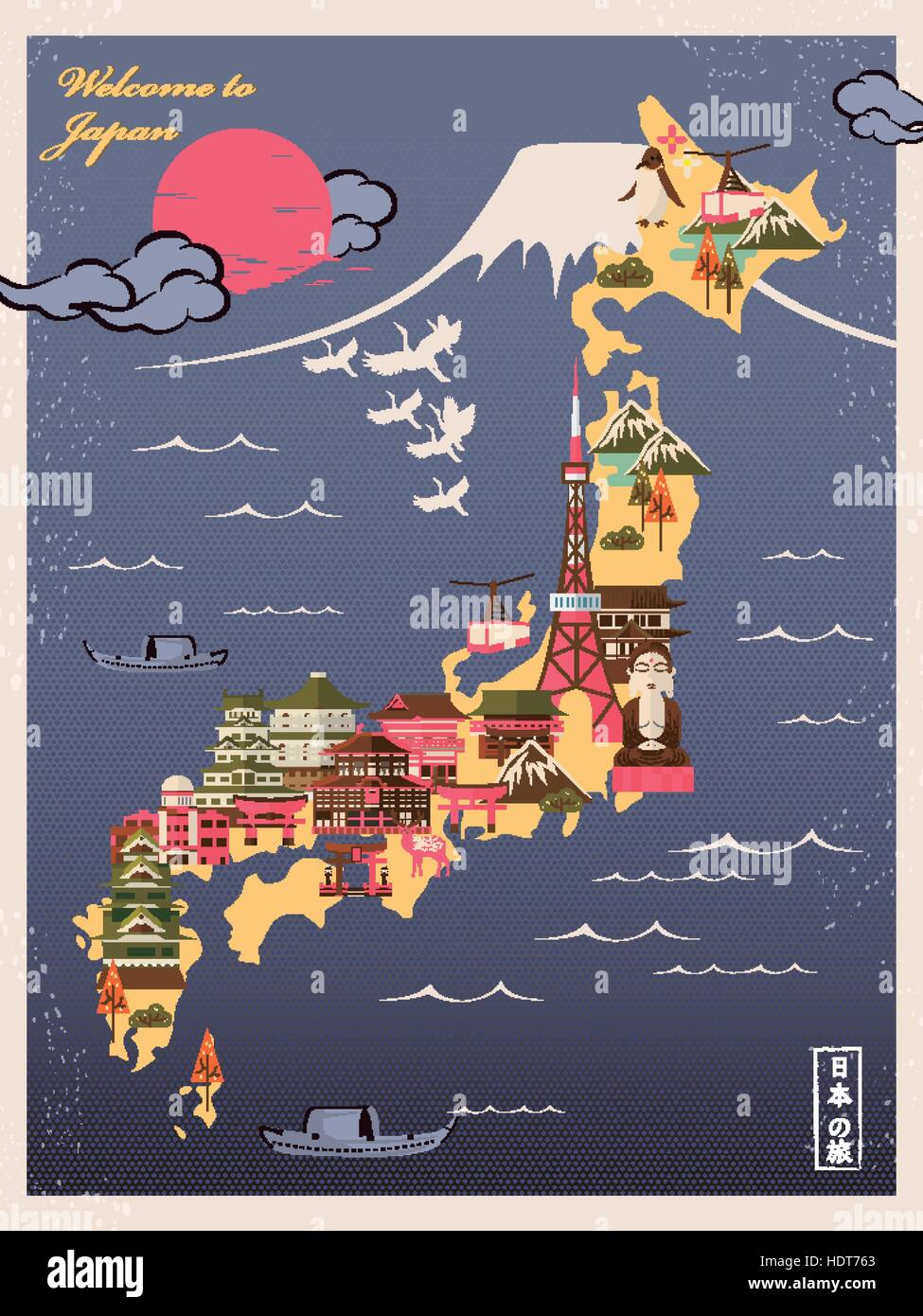 Retro Japan Travel Poster With Attractions Japan Travel In - Japan map poster