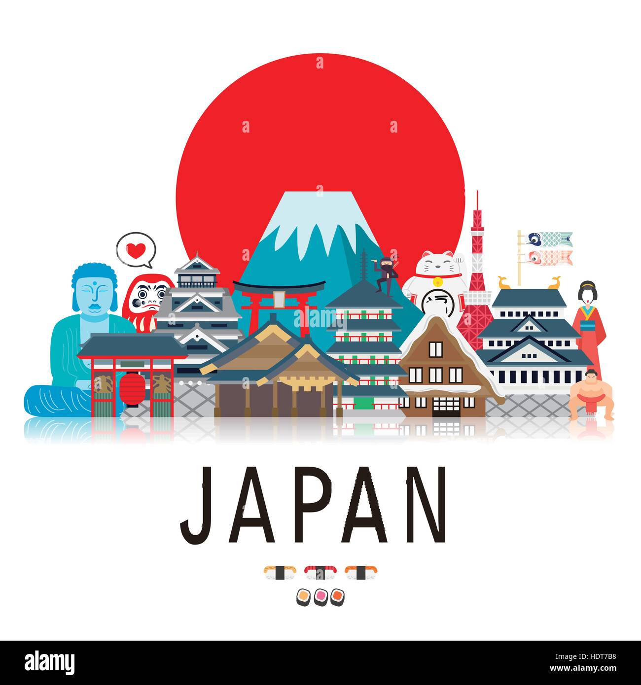 Poster design japan -  Attractive Japan Travel Poster In Flat Style Stock Photo