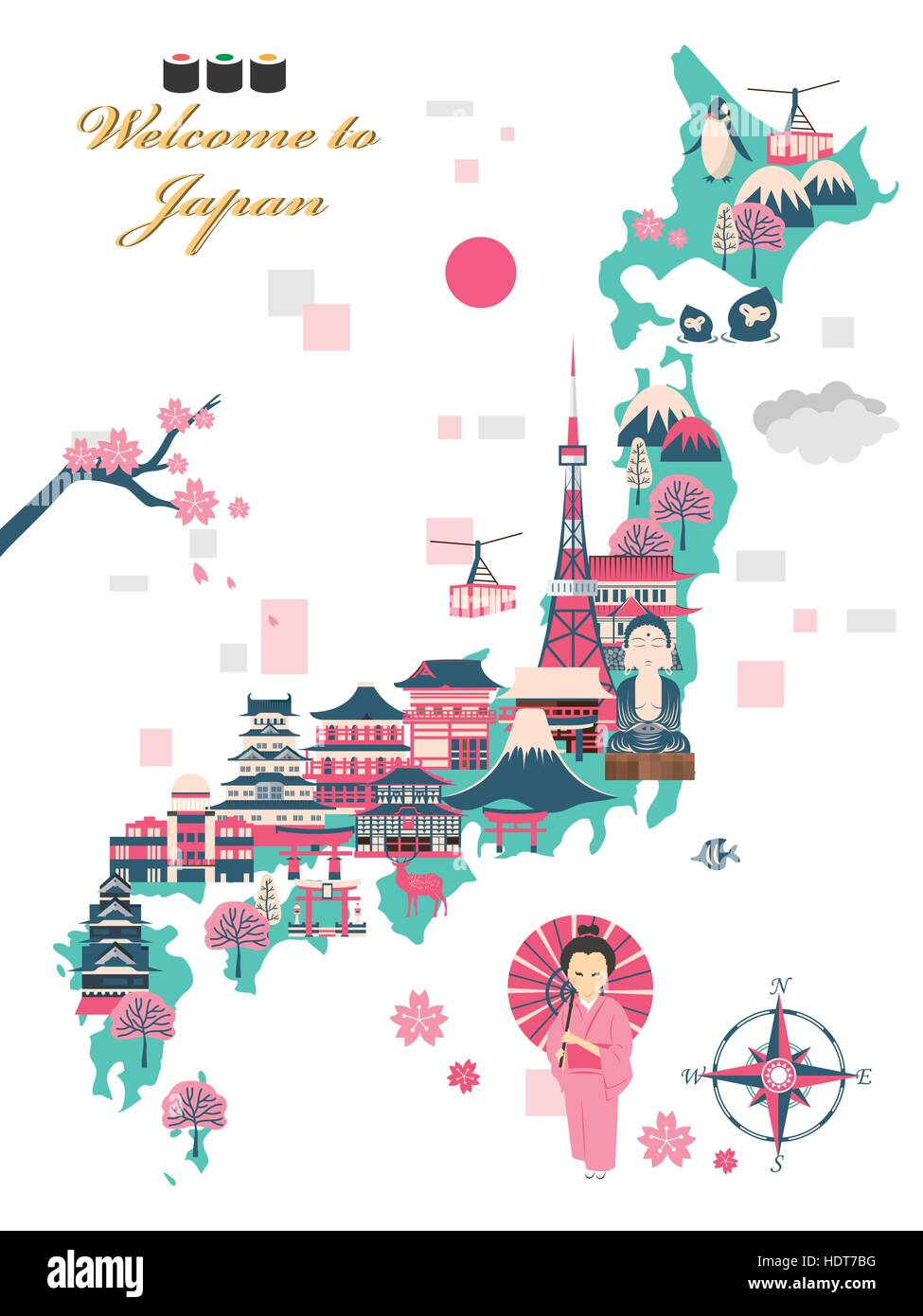 Poster design japan - Stock Vector Lovely Japan Travel Poster Design With Attractions