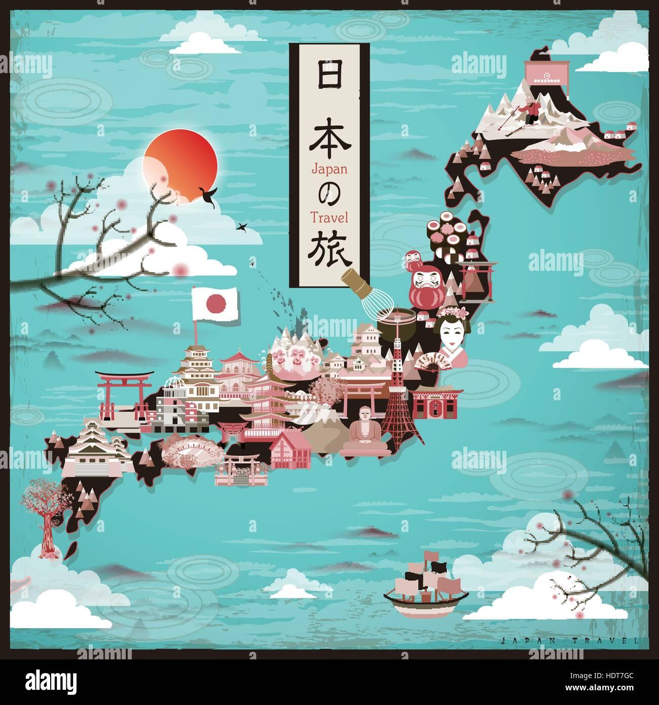 Retro Japan Travel Map Design Japan Travel In Japanese Words - Japan map hd