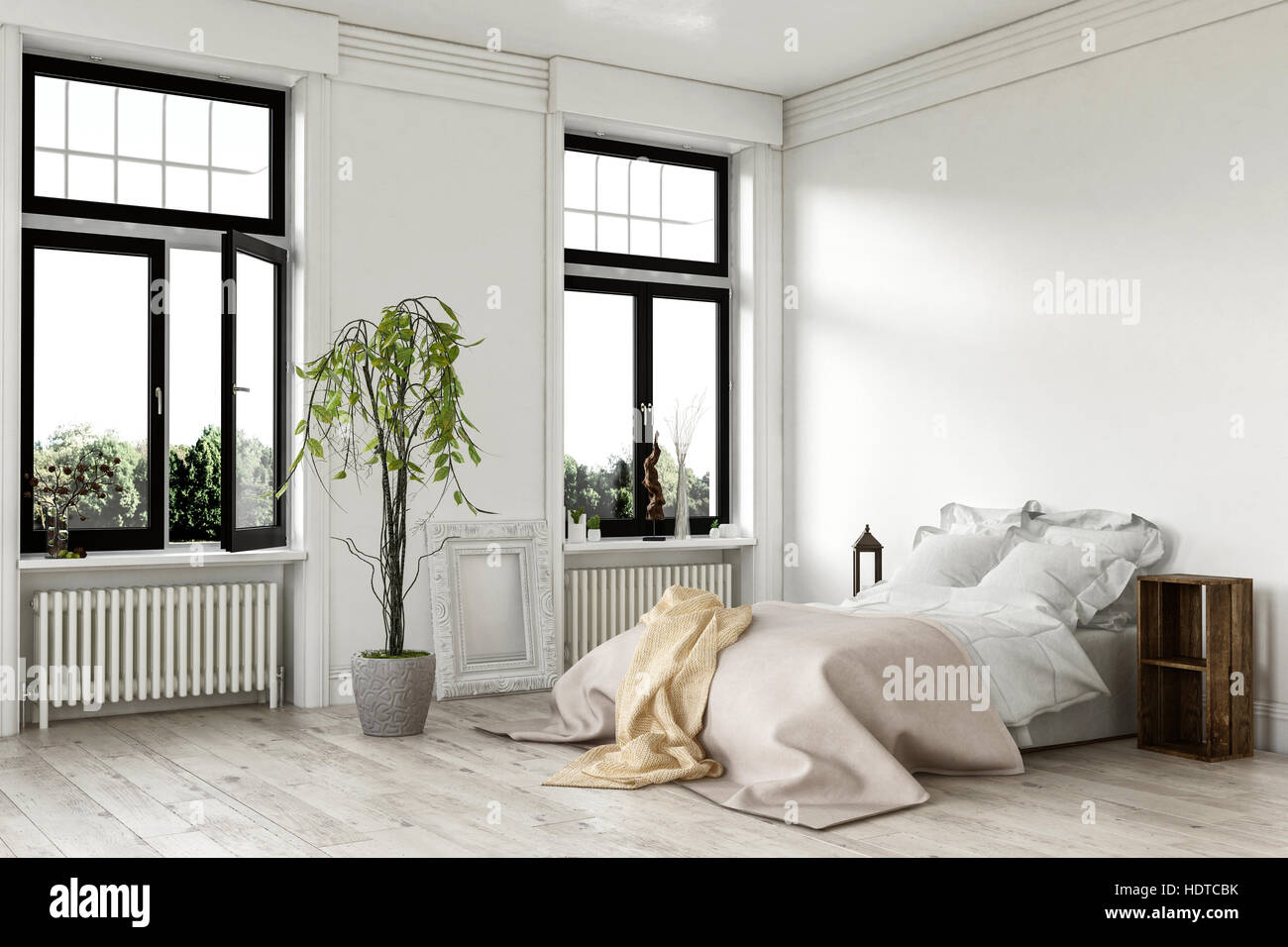 Airy bright white bedroom interior with large double windows and a ...