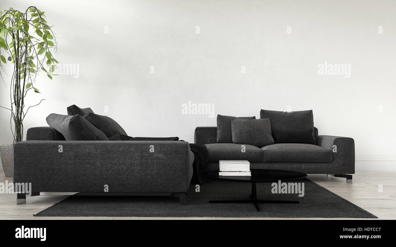 Modern Charcoal Grey Modular Lounge Suite With Cushions And Houseplant Against An Off White Blank Wall In A 3d Rendered Living Room Interior