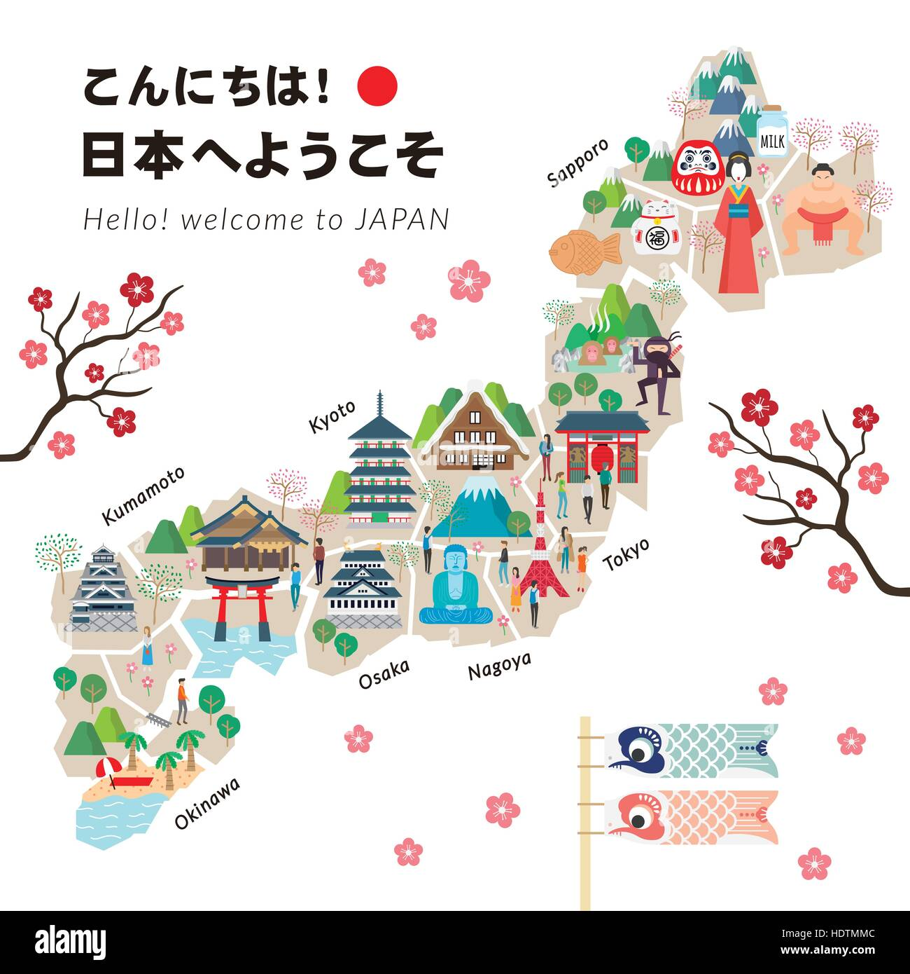 Adorable Japan Travel Map Poster Hello Welcome To Japan In - Japan map poster