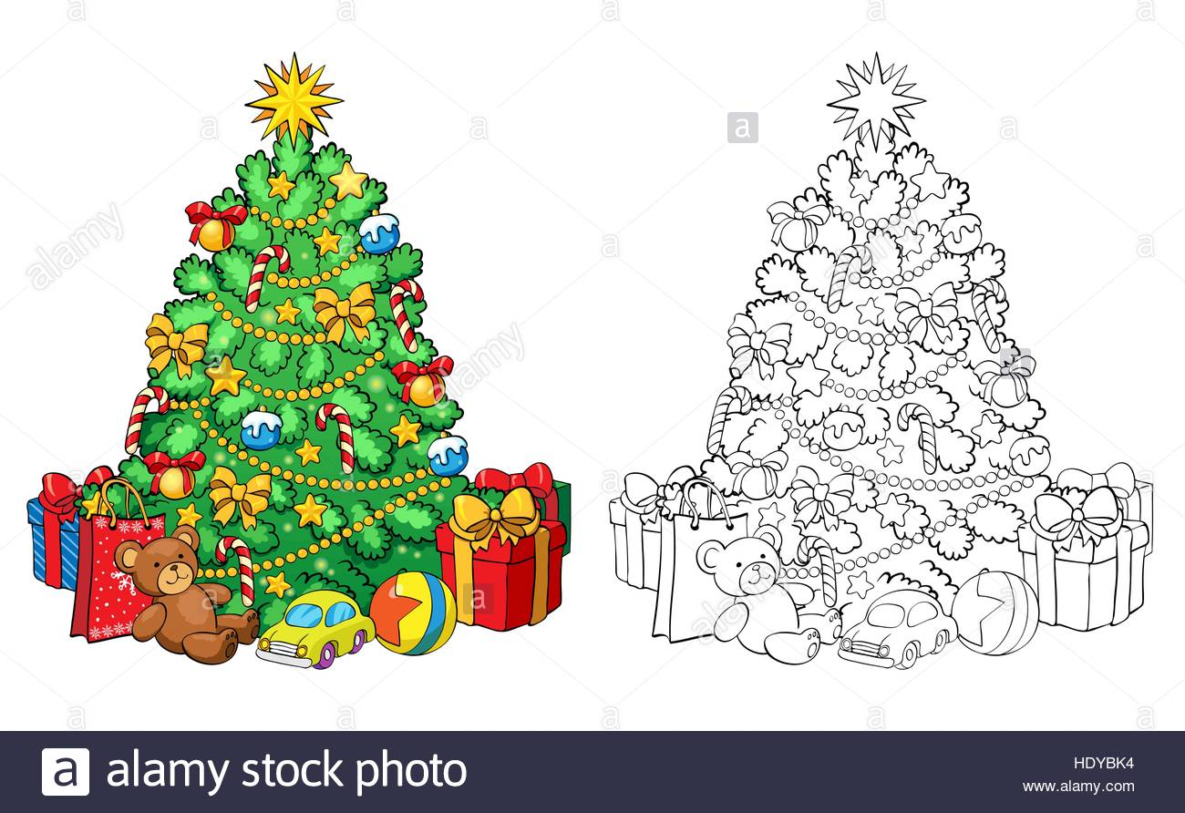 Coloring Book Or Page Illustration Christmas Tree With Decorations And Gifts Greeting Card Concept