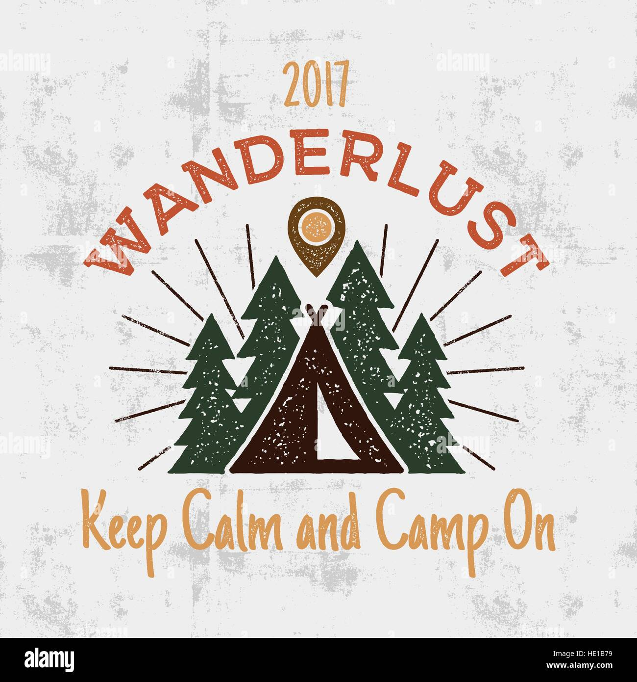 Wanderlust Camping badge. Old school hand drawn t shirt Print ...