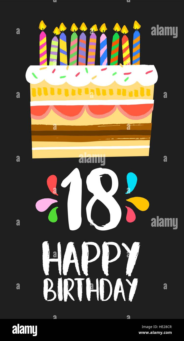 Happy Birthday Number  Greeting Card For Eighteen Years In Fun - Happy birthday 18 cake