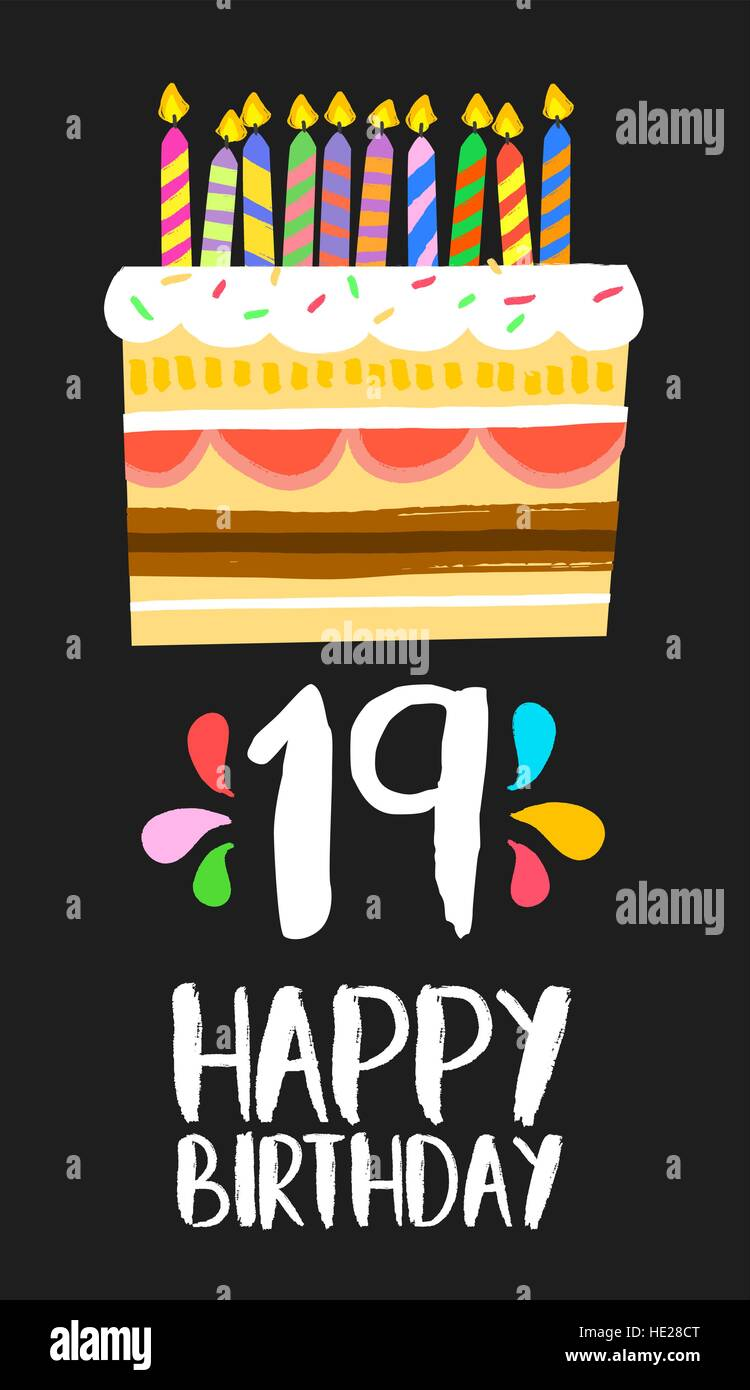 Happy birthday number 19 greeting card for nineteen years in fun – 19 Birthday Cards