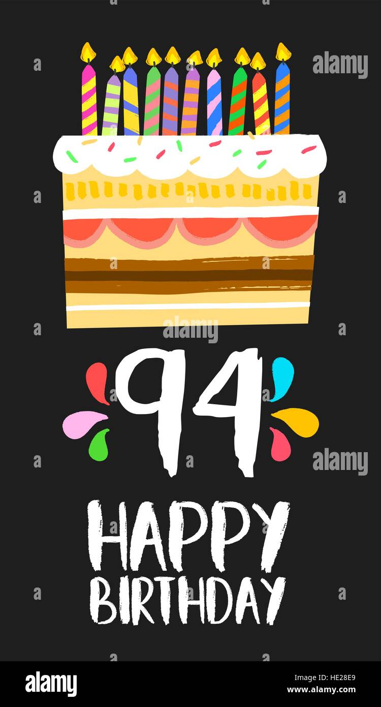 Happy Birthday Number 94 Greeting Card For Ninety Four