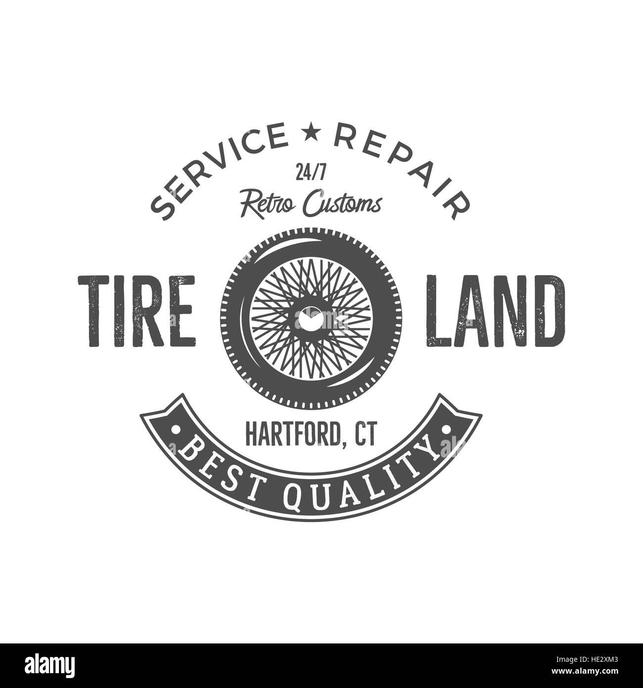 Vintage label design. Tire service emblem in monochrome retro ...