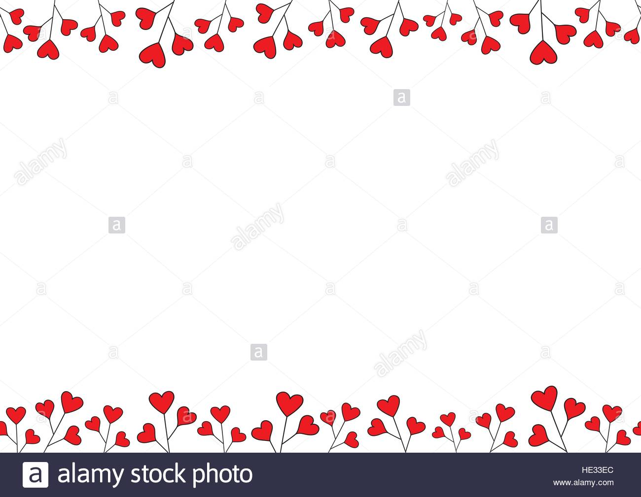 Valentines Day Background. Red Hearts Border Frame. Horizontal Vector  Seamless Frame With Space For Your Text