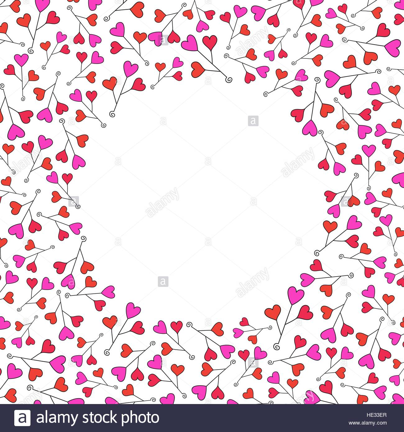 Valentines Day Background. Red Hearts Border Frame. Vector Frame With Space  For Your Text