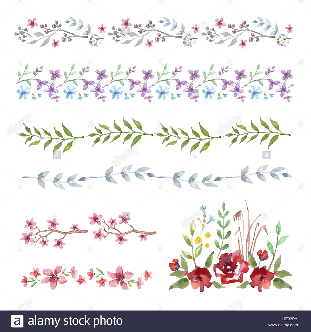 Vector Watercolor Floral Frame Border Set Of Cute Retro Flowers For Wedding Invitations And Birthday Cards