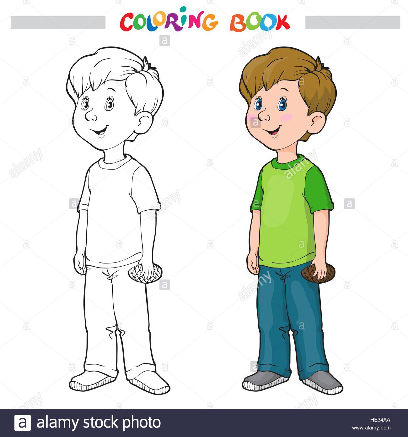 Coloring Book Or Page Outline Of A Cartoon Boy
