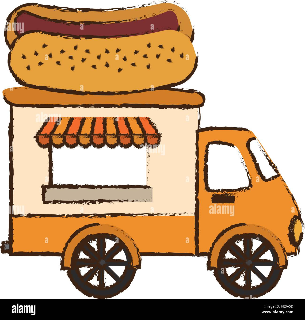 Fast Food Truck With Hot Dog Icon Over White Background Colorful Design Vector Illustration