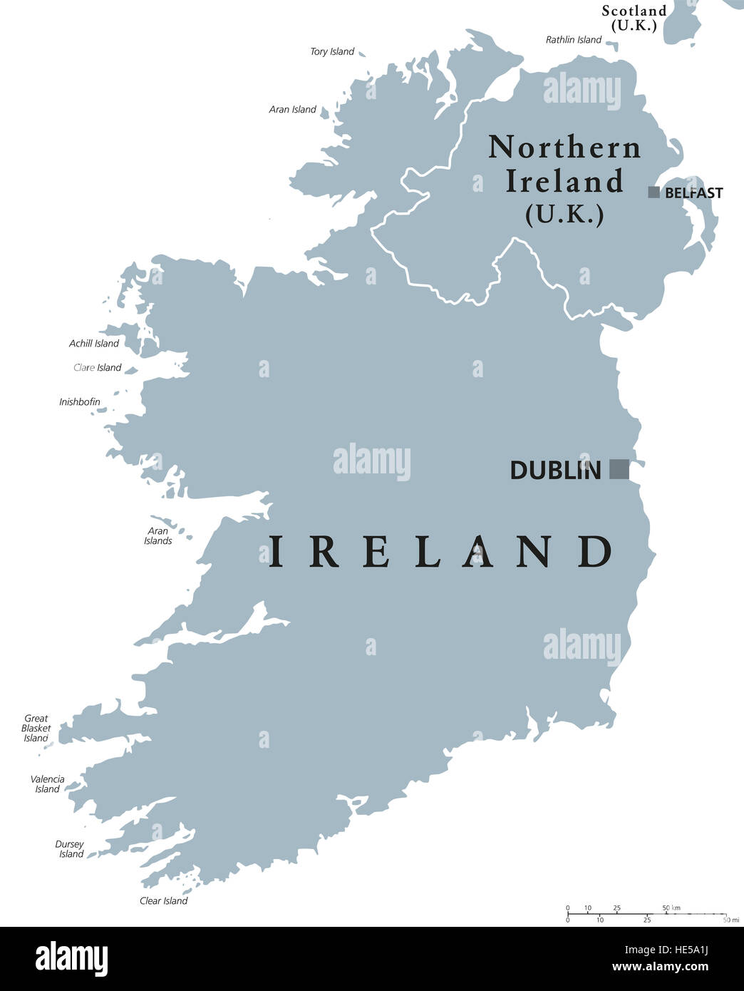 Republic of ireland and northern ireland political map with republic of ireland and northern ireland political map with capitals dublin and belfast island in europe gumiabroncs Images