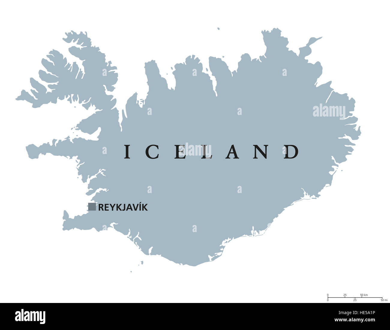 Iceland political map with capital Reykjavik Republic and Nordic