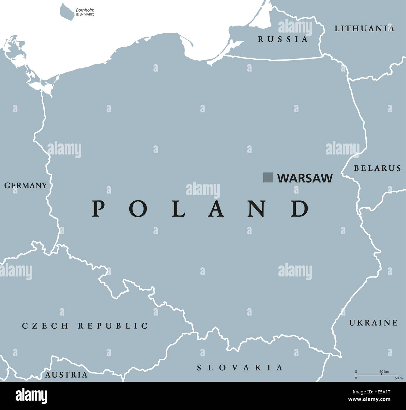 Poland Political Map With Capital Warsaw And Neighbor Countries - Poland political map