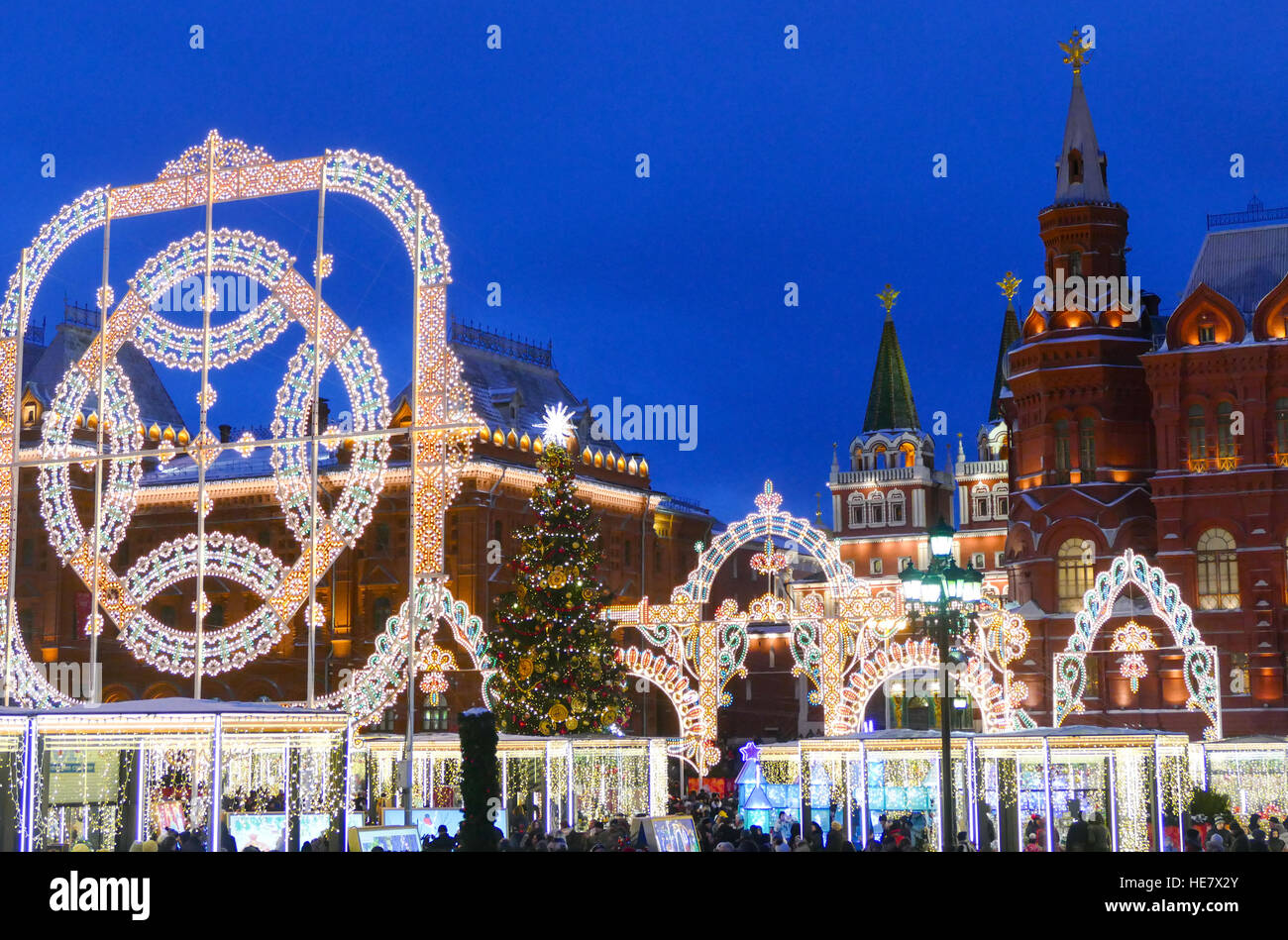 Russian Christmas Traditional Decorations : Russia moscow kremlin and christmas decorations stock