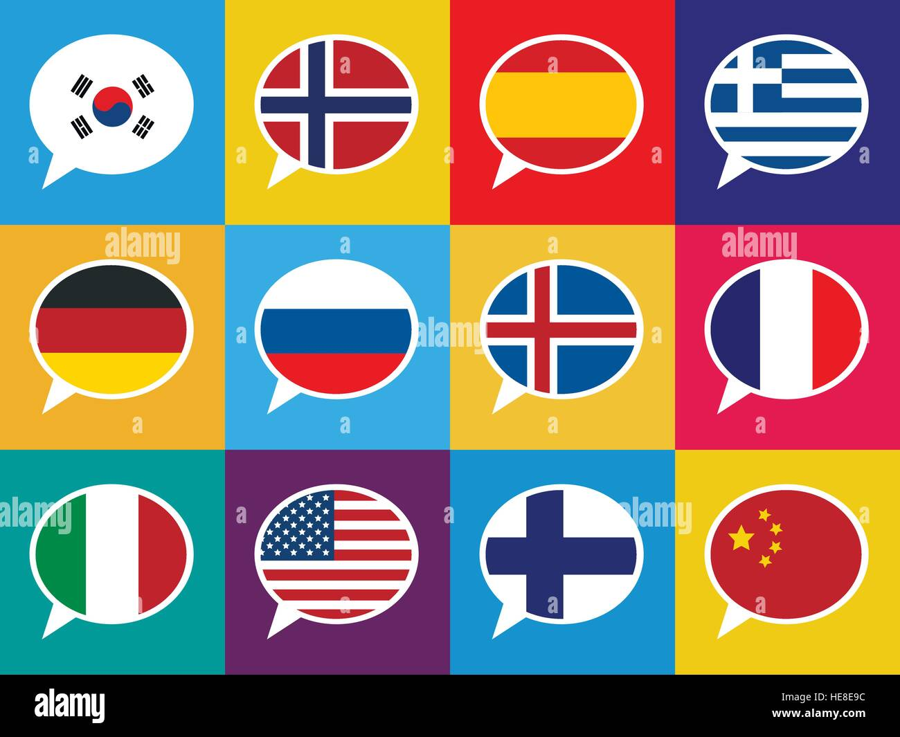 Set Of Colourful Speech Bubbles With Different Countries Flags - Countries and languages