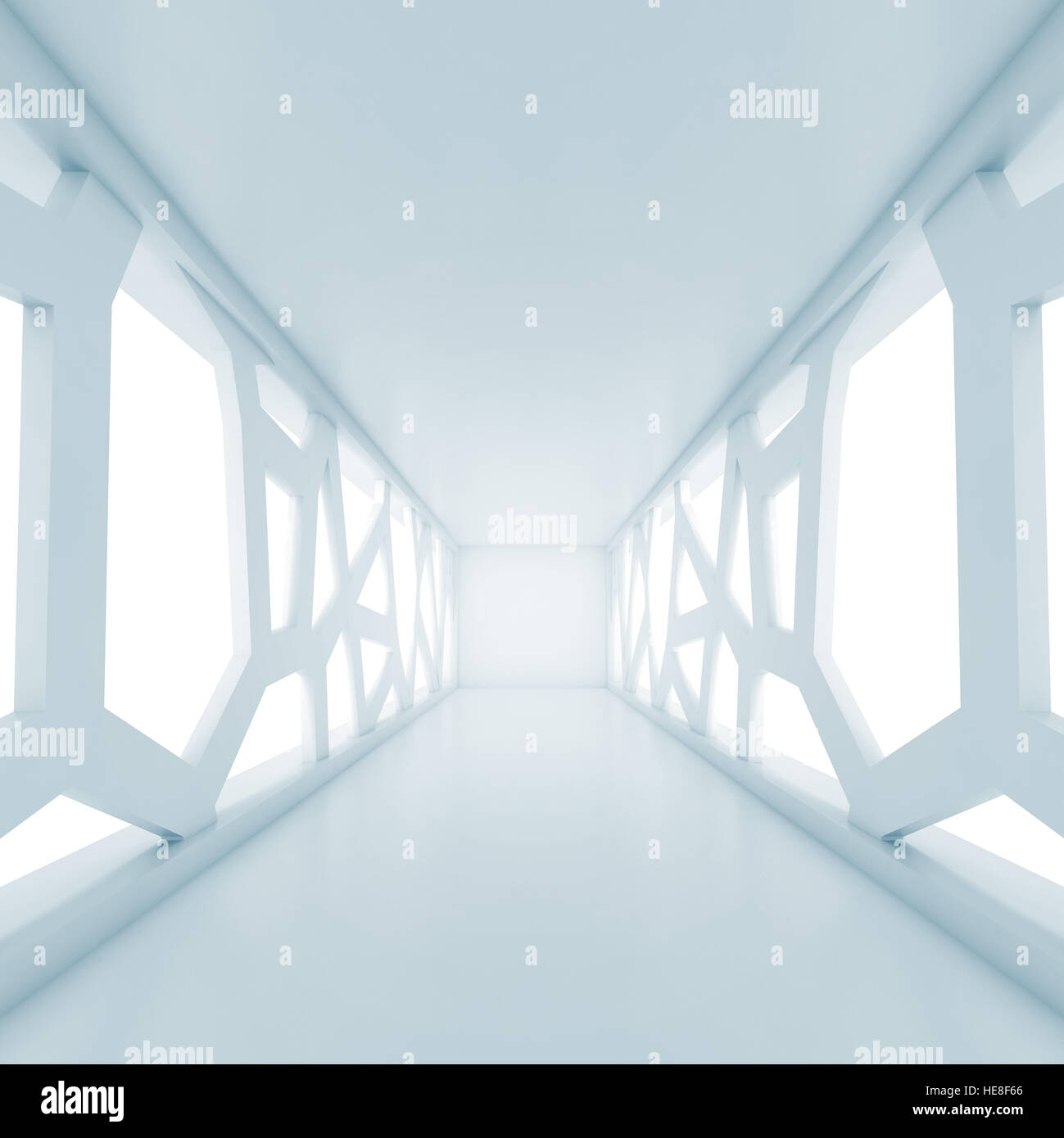 Digital Windows abstract empty room interior perspective with big futuristic