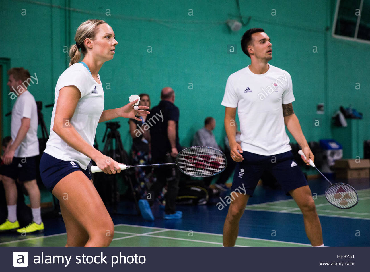 Gabby Adcock L and Chris Adcock R train at the Team GB Rio