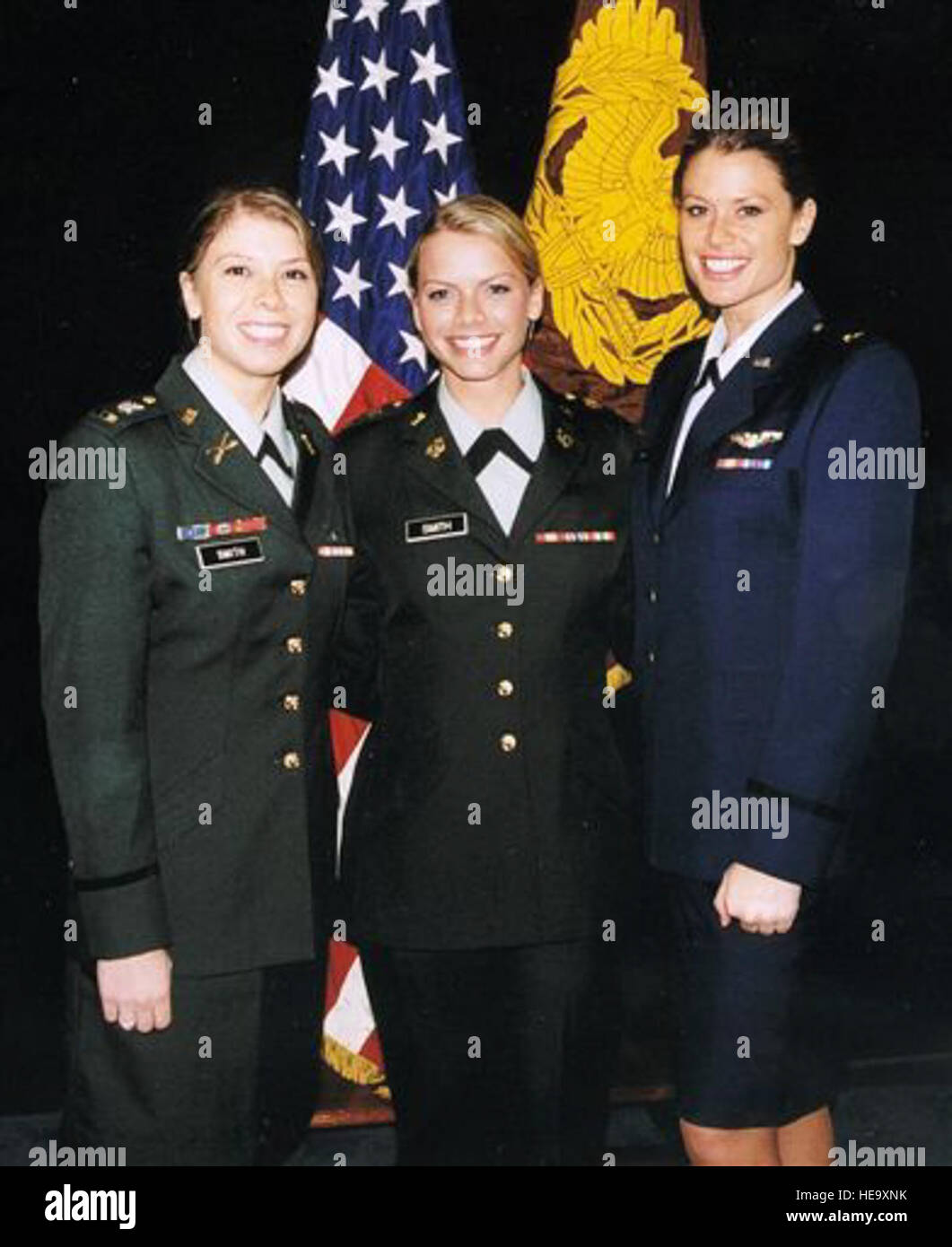 Army Chief Warrant Officer Amber Smith (left) and Air Force Capt ...