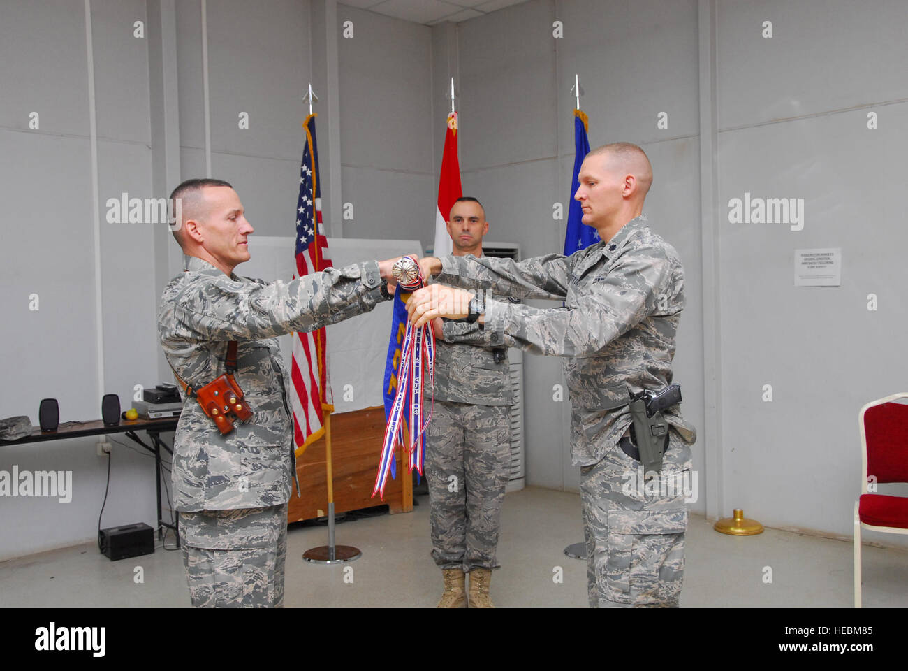 u s air force security squadron stock photos u s air force col david marttala 732nd air expeditionary group commander and lt col dustin