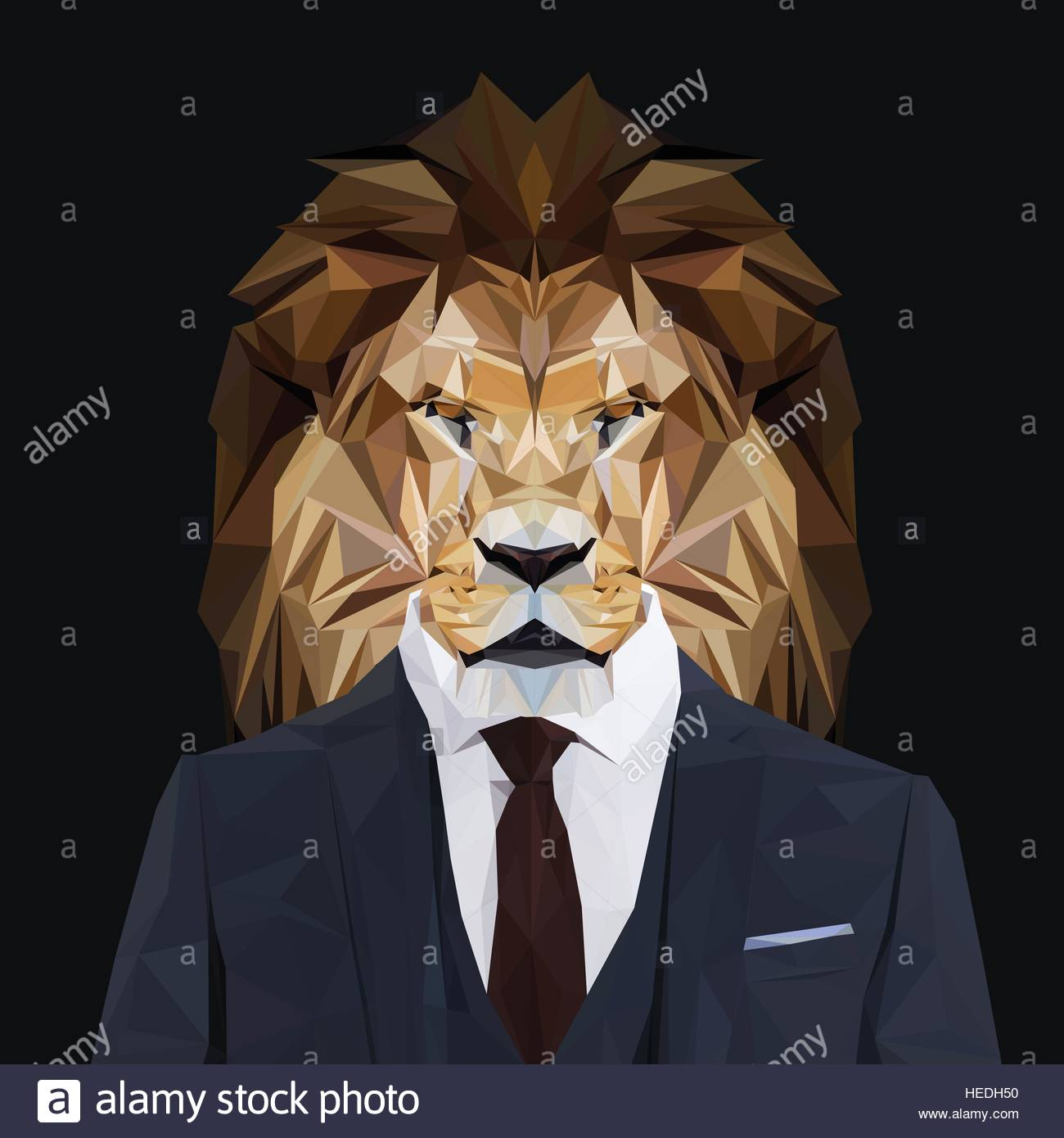 Lion animal dressed up in navy blue suit with red tie ...