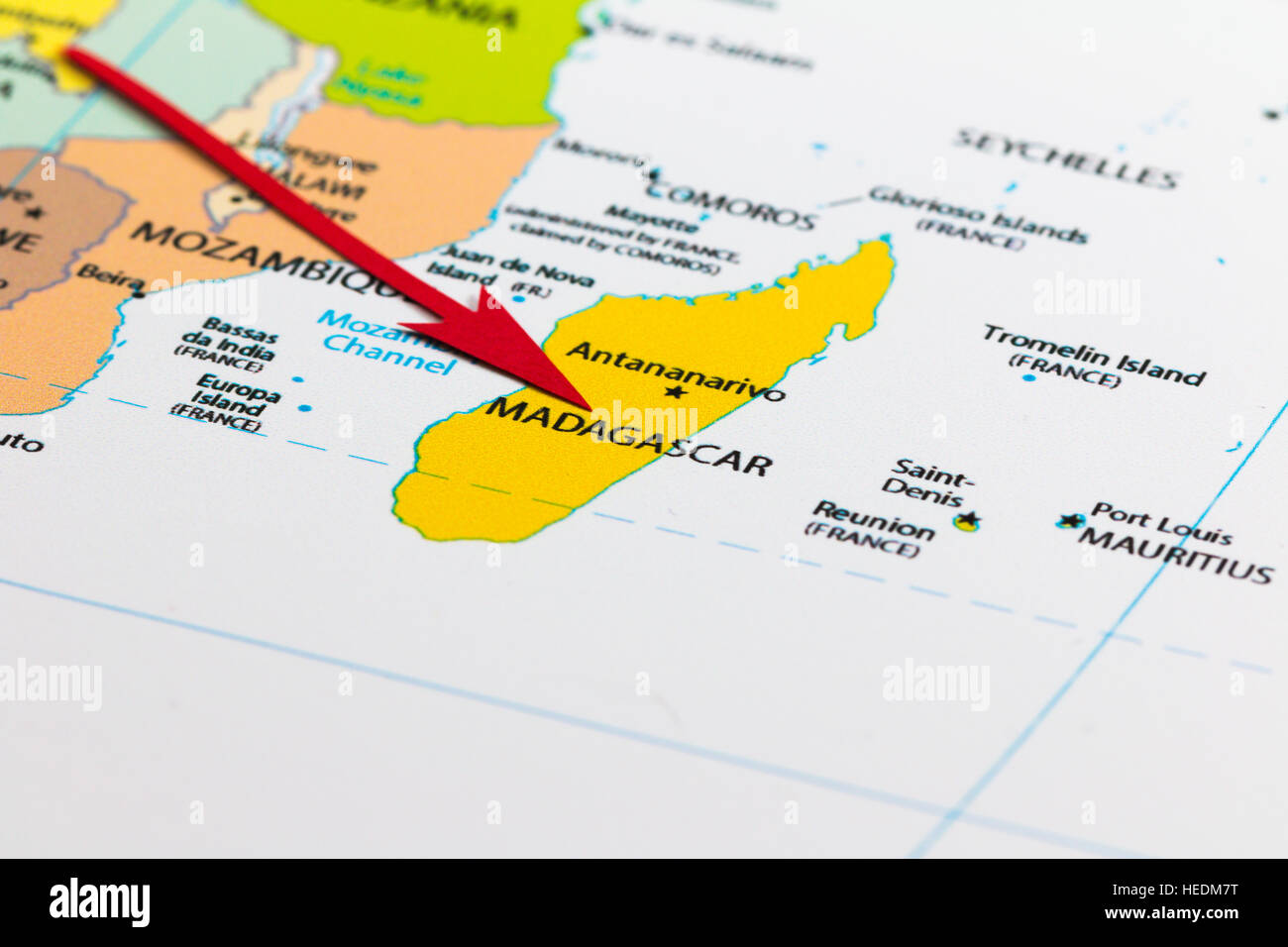 Red arrow pointing Madagascar on the map of Africa continent Stock