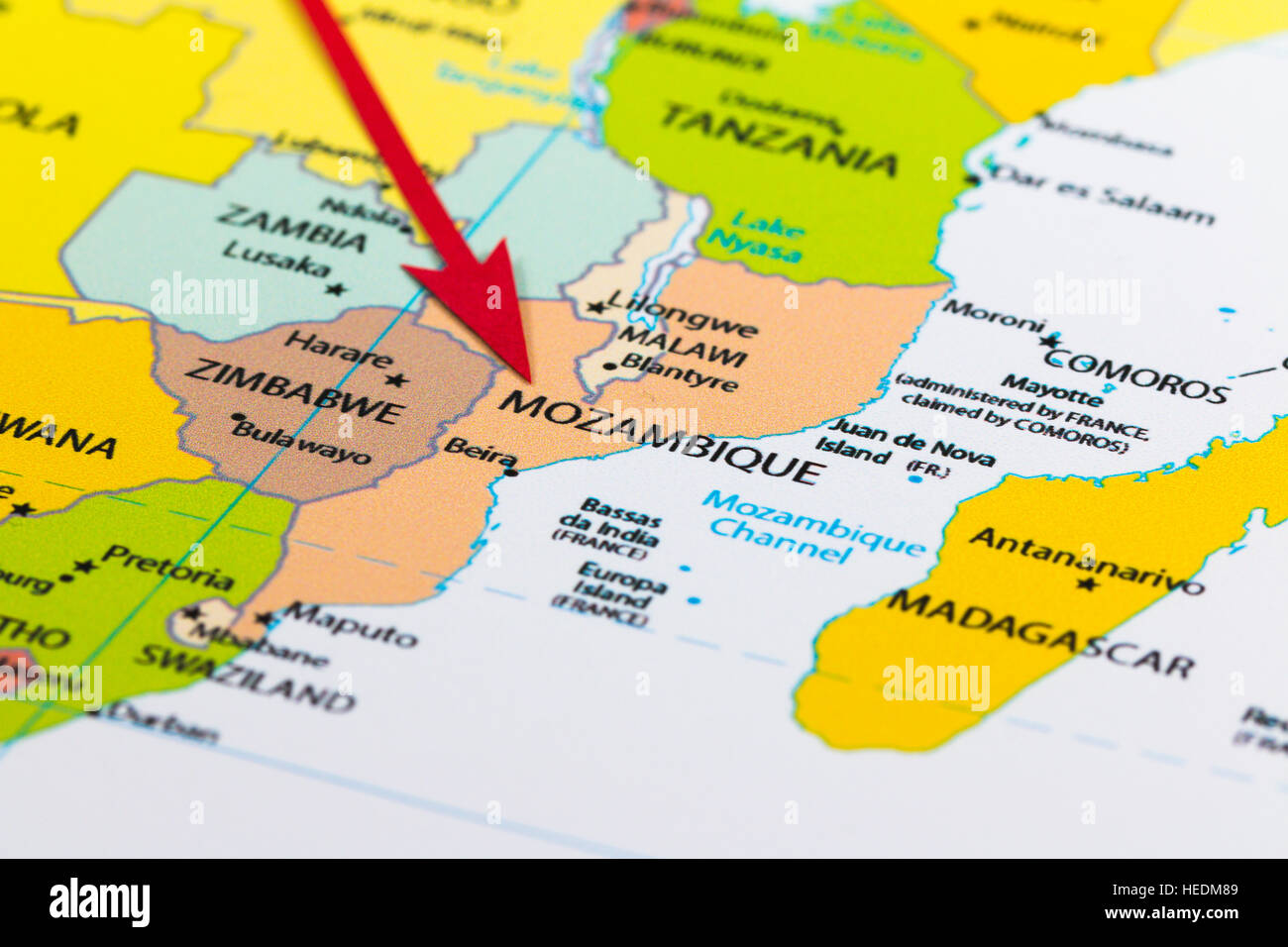 Red arrow pointing mozambique on the map of africa continent stock red arrow pointing mozambique on the map of africa continent sciox Choice Image