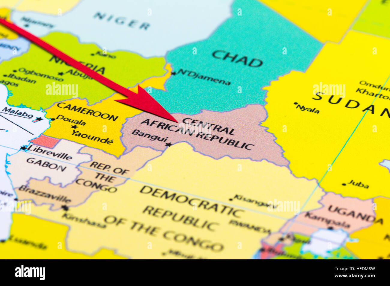 Red Arrow Pointing Central African Republic On The Map Of Africa - Central africa map