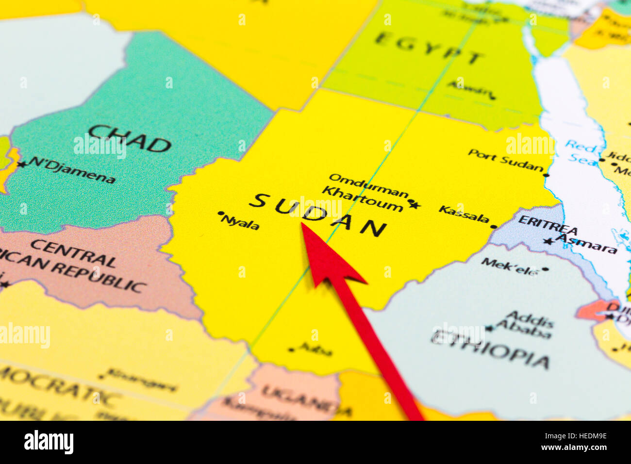 Red Arrow Pointing Sudan On The Map Of Africa Continent Stock - What continent is sudan in
