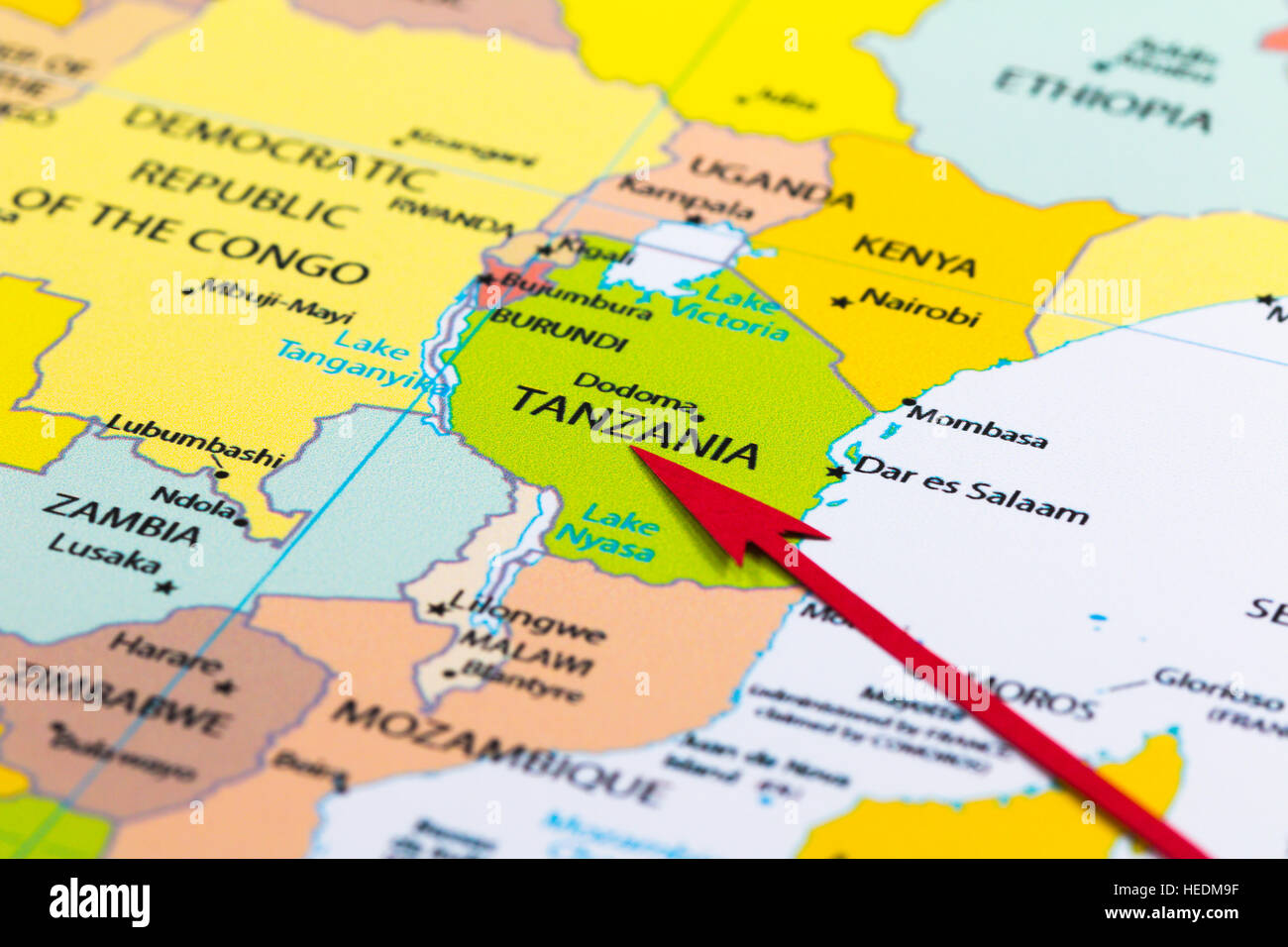 Red Arrow Pointing Tanzania On The Map Of Africa Continent Stock - Map of tanzania