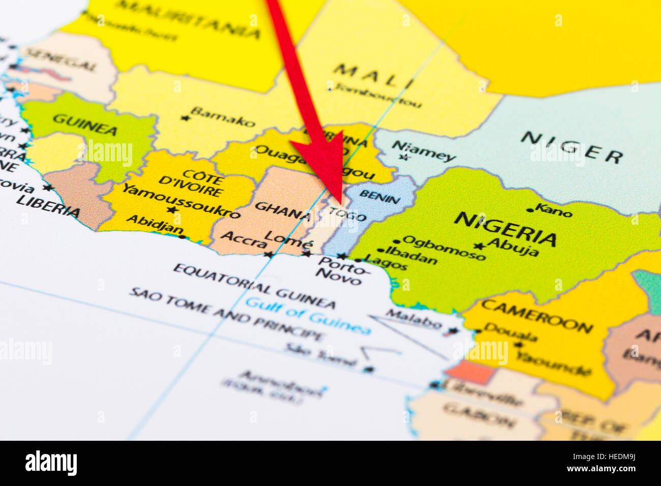 Red Arrow Pointing Togo On The Map Of Africa Continent Stock Photo - Togo map