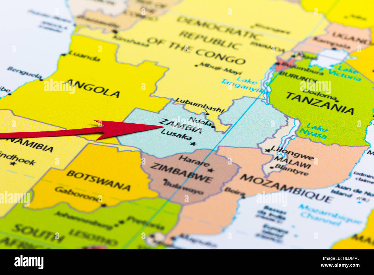 Red Arrow Pointing Zambia On The Map Of Africa Continent Stock - Zambia map