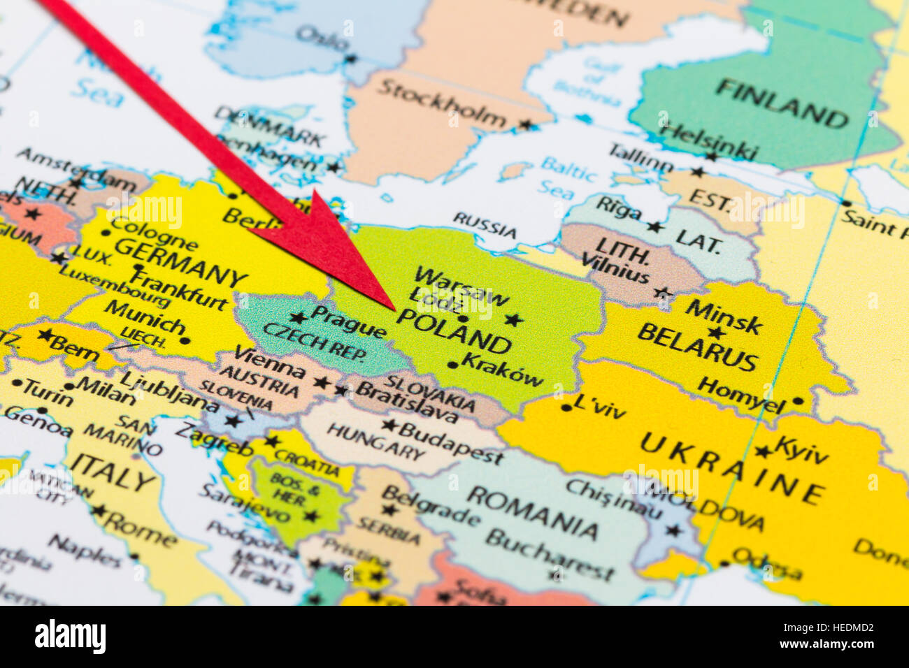 Red Arrow Pointing Poland On The Map Of Europe Continent – Map of Europe Continent