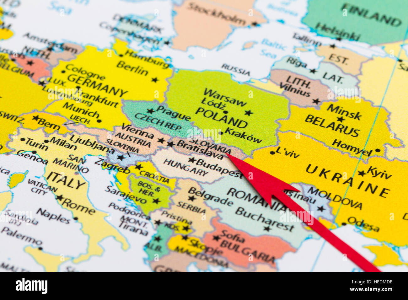 Red Arrow Pointing Slovakia On The Map Of Europe Continent – Map of Europe Continent