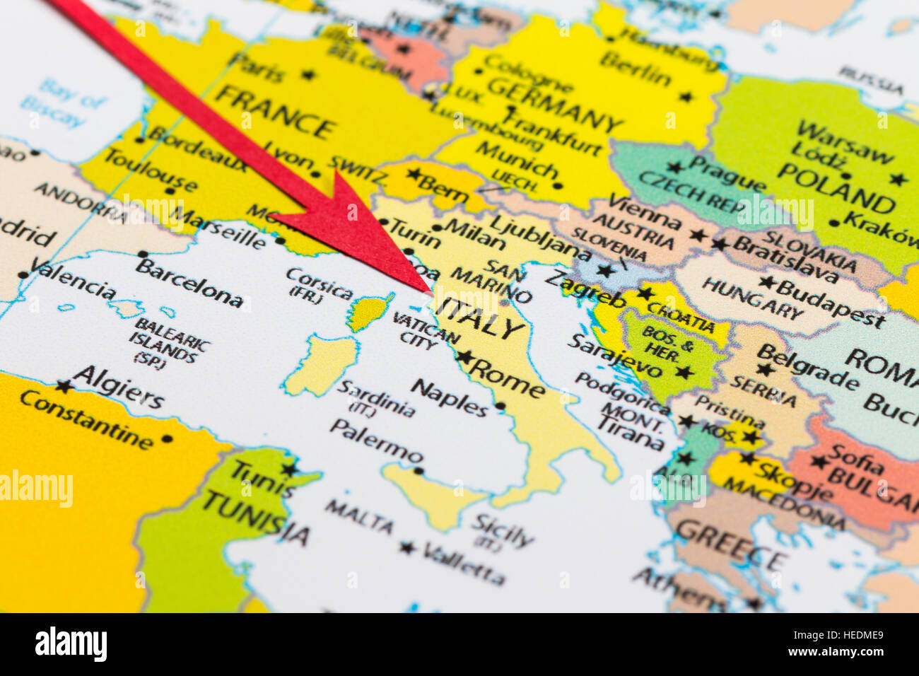 Red arrow pointing on map stock photos red arrow pointing on map red arrow pointing italy on the map of europe continent stock image gumiabroncs Gallery